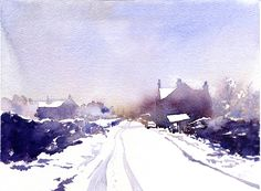 Watercolor snow scene by Allan Kirk
