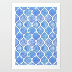 Cornflower Blue Moroccan Hand Painted Watercolor Pattern Art Print by Micklyn. Worldwide shipping available at Society6.com. Just one of millions of high quality products available.