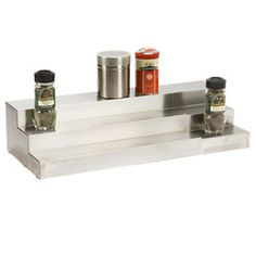"""$29.99  Container Store   3-Tier Stainless Steel Expanding Shelf  Take advantage of the vertical space in your cabinet and keep items visible with our 3-Tier Stainless Steel Expanding Shelf. It expands to fit most spaces to create four levels of storage for canned or boxed goods.  14-27-1/4"""" x 4-1/4""""h"""