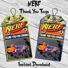 Nerf Birthday Party Thank You Tag Thank You Card by DreamsDigital