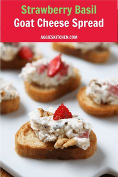 For your next summer get together! Strawberry Basil Goat Cheese Spread with Walnuts - served on crunchy toasts or crackers and drizzled with honey. Recipe from /aggieskitchen/ Recipes Appetizers And Snacks, Snack Recipes, Heavy Appetizers, Sweets Recipes, Brunch Recipes, Summer Recipes, Gluten Free Puff Pastry, Eat Seasonal, Cheese Spread
