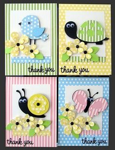 spring critters - these are card kits that she sells - retired - bjl Cricut Cards, Stampin Up Cards, Kids Cards, Baby Cards, Punch Art Cards, Create A Critter, Card Making Kits, Beautiful Handmade Cards, Copics