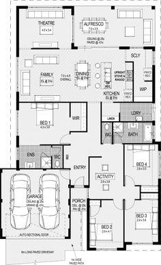 The Procida floorplan - move theatre to garage area and garage to theatre area. Home Design Floor Plans, Home Building Design, Building A House, House Design, Best House Plans, Dream House Plans, House Floor Plans, Australian House Plans, Australian Homes