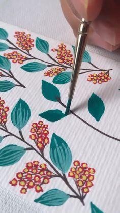 Flower Art Drawing, Simple Flower Painting, Flower Painting Canvas, Flower Paintings, Fabric Painting, Gouache Painting, Painting & Drawing, How To Paint Flowers, Draw Flowers