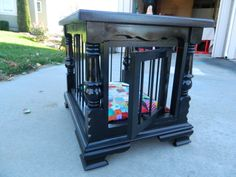 On My Creative Side | Dog crate made from a former end table!