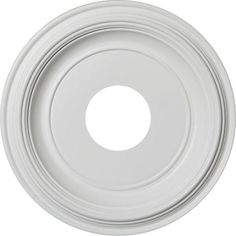 "Ekena Millwork 1-1/4 in. P X 13 in. OD X 3-1/2 in. ID Traditional Thermoformed PVC Ceiling Medallion (Fits Canopies up to 7 1/2"")-CMP13TR - The Home Depot Ceiling Decor, Ceiling Lights, Ceiling Fans, White Ceiling Paint, Plaster Repair, Inviting Home, Ceiling Medallions, Canopy, Restoration"