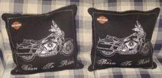 Harley-Davidson throw pillows (thinking can make them out of hd bandanas)