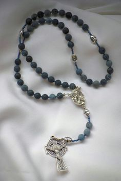 Matte Blue Celtic Rosary by AllToolsPrayerful on Etsy. New on AllToolsPrayerful.....one of three new pieces