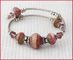 Hand made bracelet memory wire bracelet by LLPaperBeadsJewelry, $18.00  Also check out Judy Ann King boards - note to self.