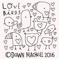 Dawn Machell pop-i-cok Bird Illustration, Pattern Illustration, Doodle Drawings, Easy Drawings, Baby Posters, Ceramics Projects, Spring Art, Cute Doodles, Cute Birds