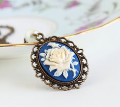 Free Shipping, Purple and Ivory Flower Cameo Necklace With Ivory Pearl on a Brass Chain, Gift For Mom