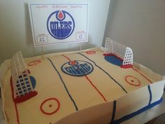 Hockey Rink Cake idea for an Edmonton Oilers fan. Kids Birthday Crafts, Birthday Ideas, Happy Birthday, Birthday Parties, Hockey Birthday Cake, Edmonton Oilers, Cupcake Cookies, Cake Ideas, Kid Stuff
