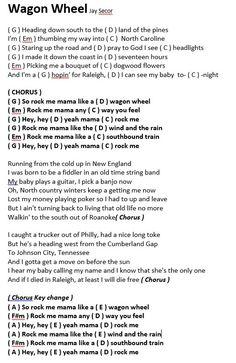 wagon wheel lyrics and chords youtube - Google Search