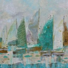 Pastel Sailboats by Libby Smart  love the texture on the one sailboats