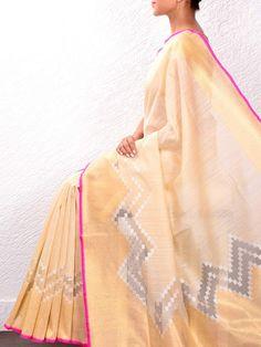Cream Raw Silk Cutwork Saree