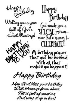 "Birthday - Inspirational -$3.00  	 Rubz by My Sentiments Exactly!  These Birthday sentiments are perfect for the inside and/or outside of your cards!!  A variety of inspirational birthday greetings using several different fonts and styles.    Easy to apply and position as you like.  More birthday greetings available on the Birthday Rubz!  One sheet of rub-ons approximately 5 1/2"" x 4"" per package"