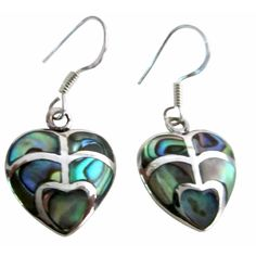Red Heart Earrings Abalone Paua Shell Womens Silver Fashion Jewellery 25mm Drop