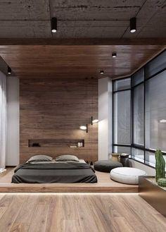 Do chão até o teto: repare que a madeira vai ganhando um tom mais escuro conforme vai subindo pelas paredes