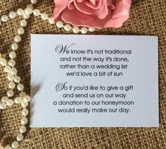 25 50 Wedding Gift Money Poem Small Cards Asking For Cash Invitations