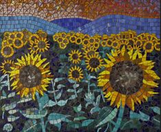 Beautiful sunflowers mosaics backsplash Bathroom Tile Backsplash Ideas