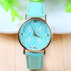 Geometric Graphic Face Mint Blue Geneva Quartz Ladies Watch Sister Gifts a933037c9ba