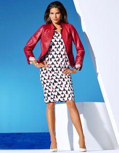 Lederjacke, Kleid, Slingpumps aus Leder mit hohem Absatz