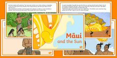 Māui and the Sun Story Cards Primary Resources, Teaching Resources, Kids Learning, New Zealand, Hawaiian, Design Art, Teacher, Sun, Activities