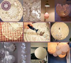 MATERIAAL - Behanglijm - Een stevige ballon - Verschillende onderzetters of tafellaken van gehaakt kant - Schaar  - Spaarlamp - Fitting en koord  Deco tip: romantische lamp van kant | Dalani Home & Living Magazine