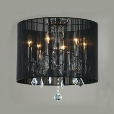 Amazon.com: 6-light Black Drum Shade Flush Mount Crystal Chandelier Pendant: Home Improvement