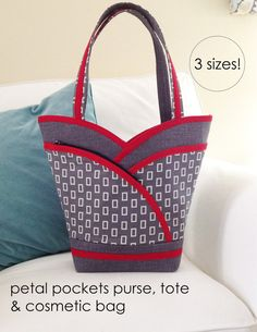 PDF Pattern  Petal Purse, Tote & Cosmetic Bag