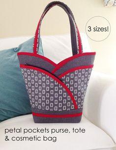 PDF Pattern  Petal Purse, Tote & Cosmetic Bag