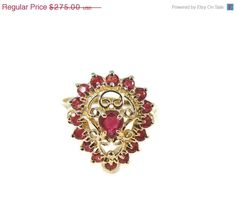 Estate RUBY Filigree Ring fit for a Queen 10k by PremierAntiquesNY ON SALE $242