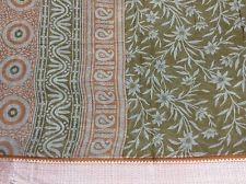 OMSAIHOME VINTAGE SARI PURE COTTON FLORAL PRINT INDIAN SOFT SAREE FABRIC 5 YARD