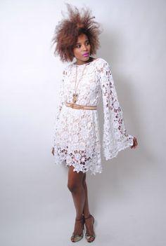 white CROCHET LACE DRESS bell sleeve - boho wedding dress - mini length hippy vintage inspired. $220.00, via Etsy.