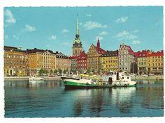 Vykort stockholm gamla stan kornhamnstorg båtar bilar i bild