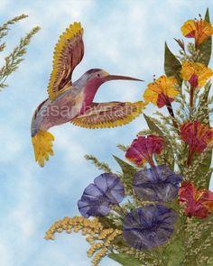 Pressed Flower Art Hummingbird  Art print by irinasartbynature, $18.00