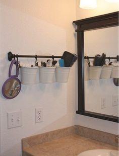 Bathroom Organization. Small Bathroom.  Makeup organization.