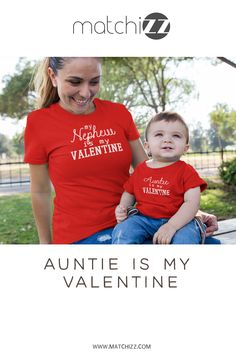 Aunt and Nephew Niece Matching Outfits Auntie is My Valentine Aunt And Niece Shirts, Nephew And Aunt, Matching Shirts, Matching Outfits, Boy Best Friend Gifts, Aunt Baby Clothes, Aunt Quotes, Baby Baptism, Be My Valentine