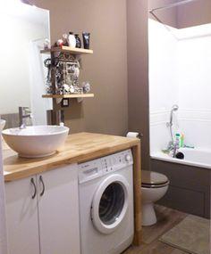 gagnez de l 39 espace dans votre salle de bain en encastrant le lave linge sous le plan de. Black Bedroom Furniture Sets. Home Design Ideas