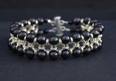 chainmail sterling silver cuff with black fwpearls