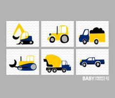 Baby boy Nursery art, Truck, Transportation, Set of 6 8x10. Navy Yellow Black Grey