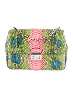 97046a6d4636 Christian Dior Miss Dior Large Hand-Painted Python Flap. The RealReal. Dior  Handbags ...