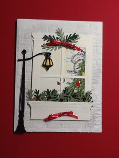 Images are Penny Black, the dies are Grand Madison window and flower box. Lamp post not sure what it is. A card by Victoria Fiegehen Cricut Christmas Cards, Chrismas Cards, Homemade Christmas Cards, Cricut Cards, Christmas Cards To Make, Xmas Cards, Diy Cards, Handmade Christmas, Homemade Cards