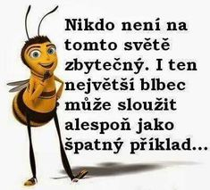 Nikdo není na tomto světě zbytečný. I ten největší blbec . Girly Quotes, True Quotes, Scorpio Zodiac Facts, Best Quotes Ever, Wise Words, I Laughed, Quotations, Haha, Funny Pictures