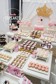 Detalle mesa dulce en rosa