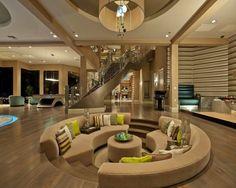 Sala de estar, embutido na sala de estar, sofá redondo na sala
