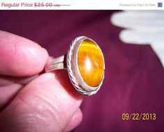 ON SALE SALE Old Mexico Tigers Eye Sterling Ring by CalicoCandys, $17.50