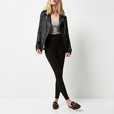 Zwarte legging met krijtstreep en hoge taille