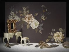 Midnight Garden embroidered wallpaper by Claire Coles Design