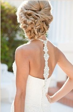 curly updo wedding hairstyle...love the back of the dress too!